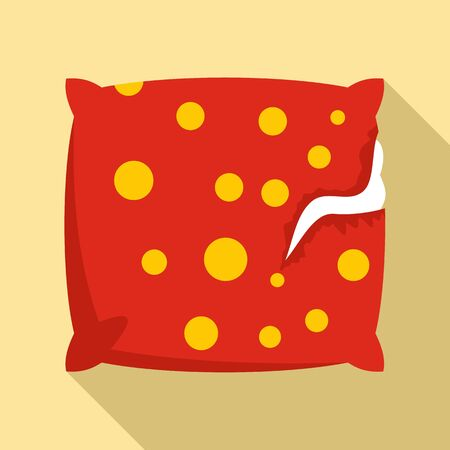 Torn pillow icon, flat style