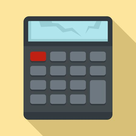 Broken calculator icon, flat style
