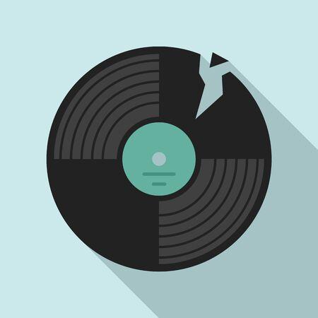 Broken vinyl disc icon. Flat illustration of broken vinyl disc vector icon for web design Ilustrace