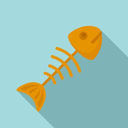Fish skull icon, flat style