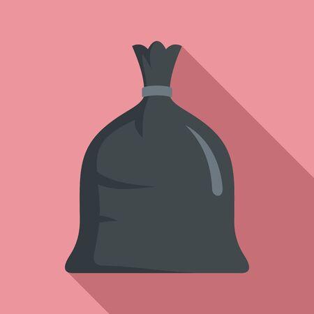 Garbage bag icon, flat style