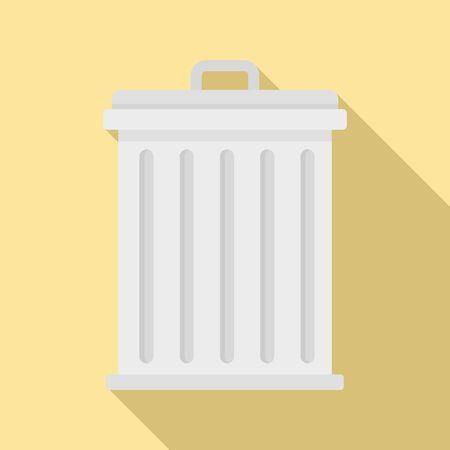 Steel recycle bin icon, flat style