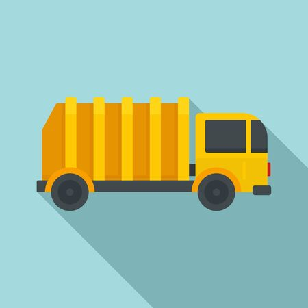 Garbage city truck icon, flat style