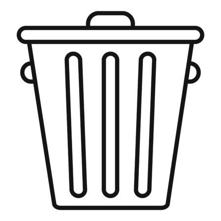Steel recycle bin icon, outline style Illusztráció
