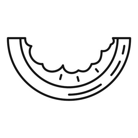 Eaten watermelon slice icon, outline style