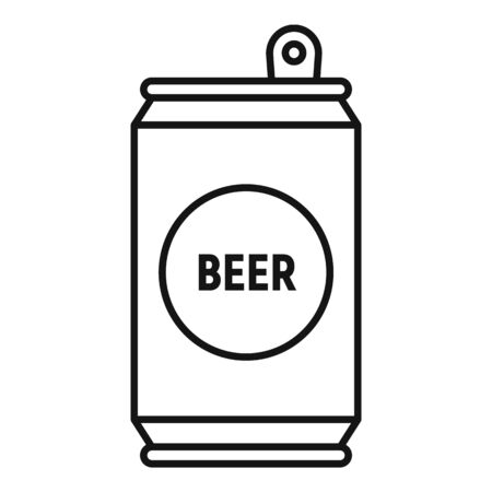 Beer tin can icon, outline style