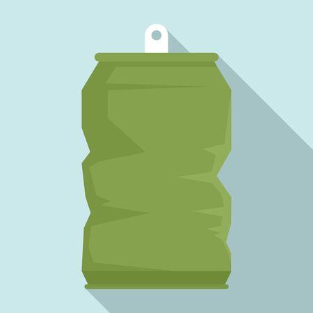 Garbage energy drink tin icon, flat style