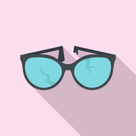 Cracked eyeglasses icon, flat style