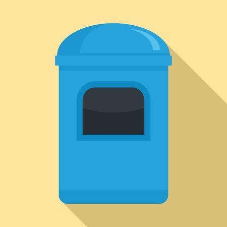 Garbage box icon, flat style Illustration