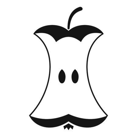 Eaten apple icon, simple style