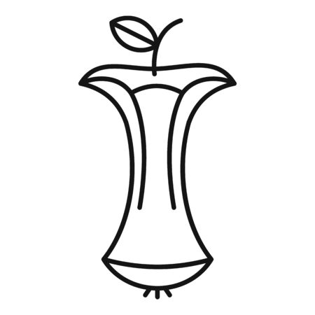 Eaten apple icon, outline style Illustration