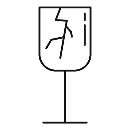 Cracked champagne glass icon, outline style