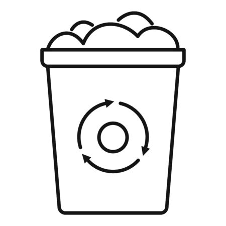 Recycling bin garbage icon, outline style