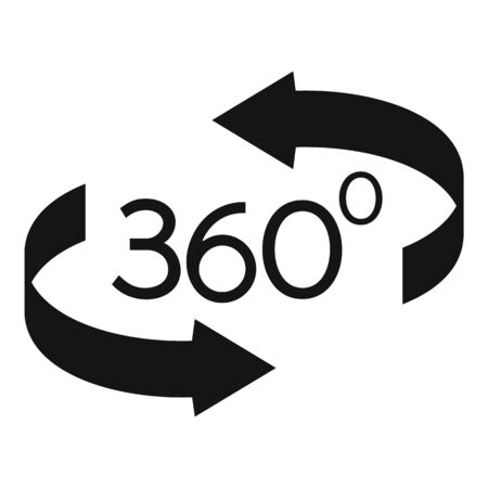 360 degrees icon, simple style
