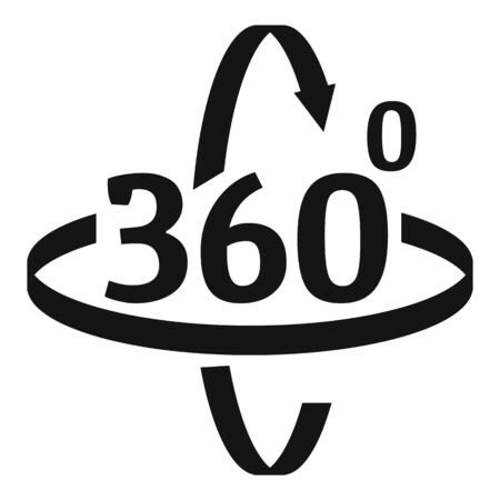 360 degrees rotation icon, simple style Illustration