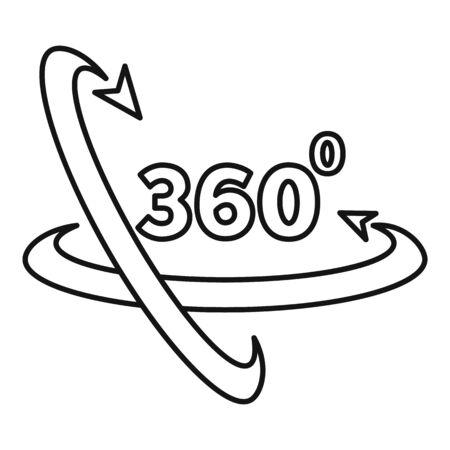 360 degrees icon, outline style Illustration