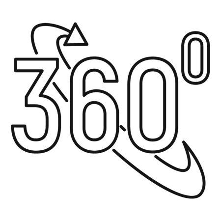 Virtual 360 degrees icon, outline style