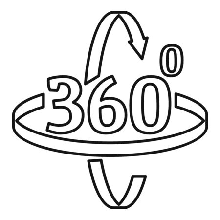 360 degrees rotation icon, outline style