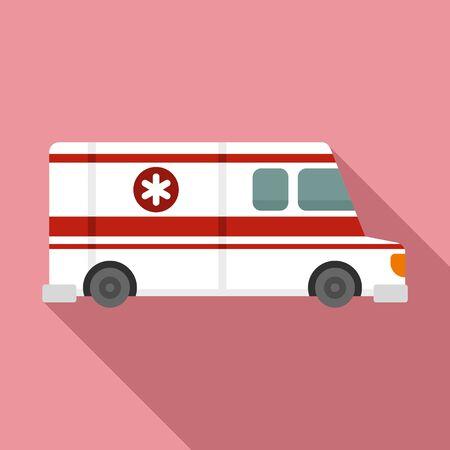 Ambulance vehicle icon, flat style