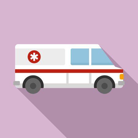 Ambulance help team icon, flat style