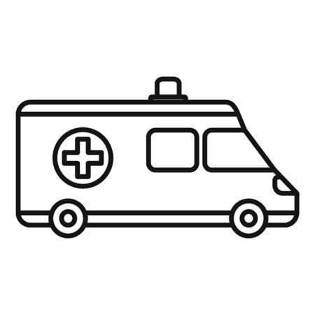 Ambulance icon, outline style Çizim