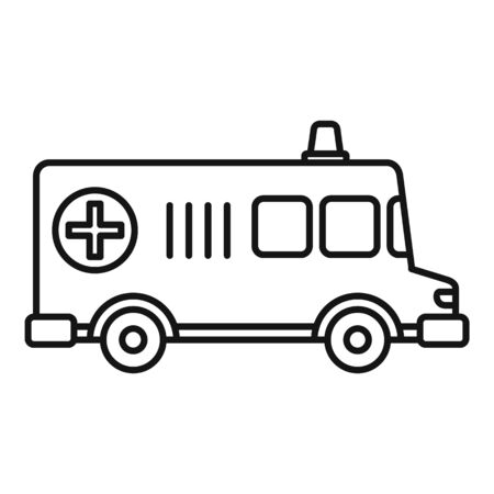 Old ambulance icon, outline style