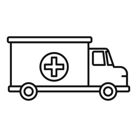 Ambulance van icon, outline style Çizim