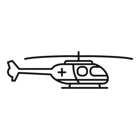 Ambulance helicopter icon, outline style