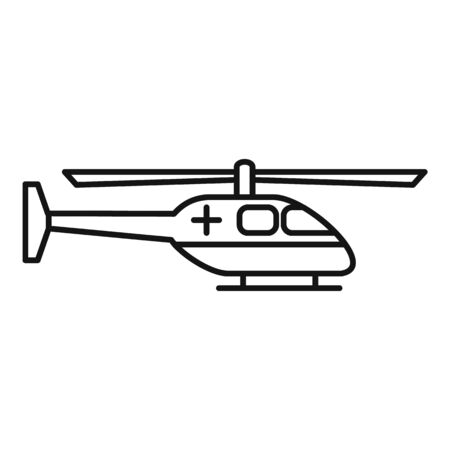 Alert ambulance helicopter icon, outline style