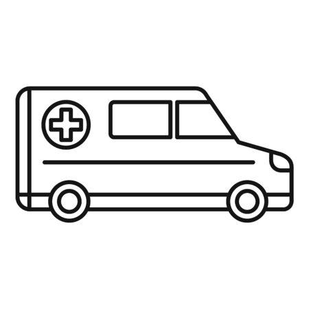 Hospital ambulance icon, outline style Illusztráció