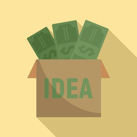 Money idea icon, flat style