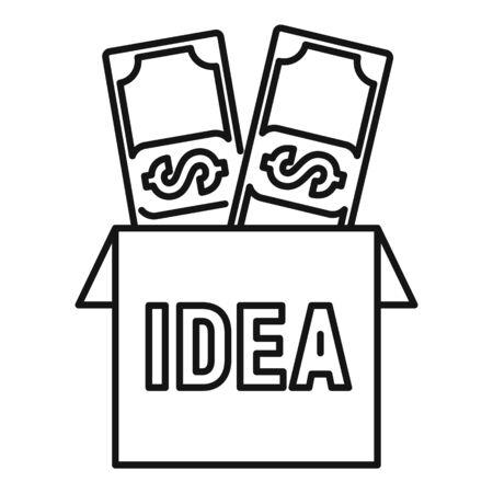 Money idea icon, outline style Ilustracja