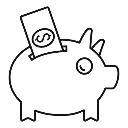 Piggy bank crowdfunding icon, outline style