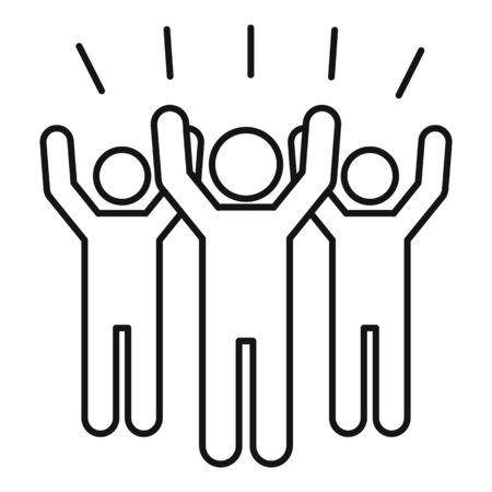 Crowdfunding icon, outline style Stock Illustratie
