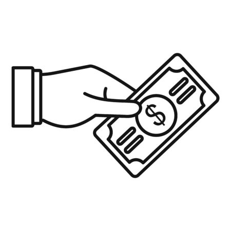 Dollar hand icon, outline style