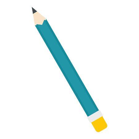 Blue pencil icon, flat style Stock Illustratie
