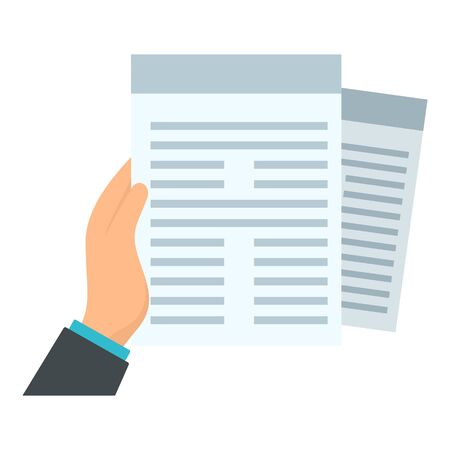 Documents in hand icon, flat style