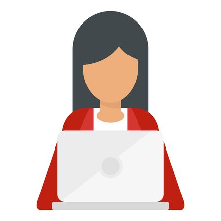 Woman with laptop icon, flat style Illustration