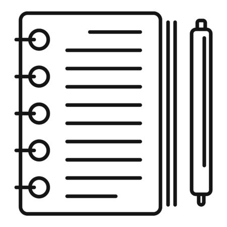 Note paper pencil icon, outline style