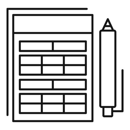 Pen finance paper icon, outline style