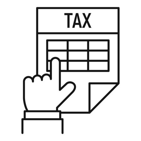 Tax time paper icon, outline style Illustration