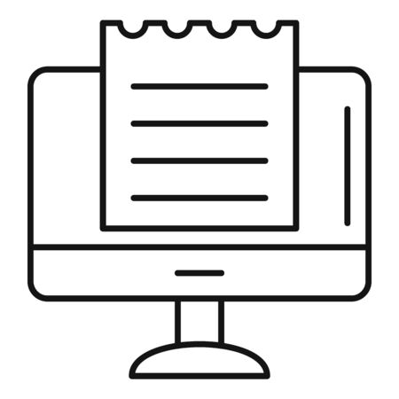 Online tax receipt icon, outline style