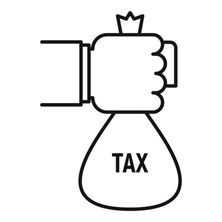 Tax money bag icon, outline style