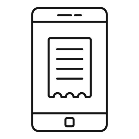 Smartphone online receipt icon, outline style
