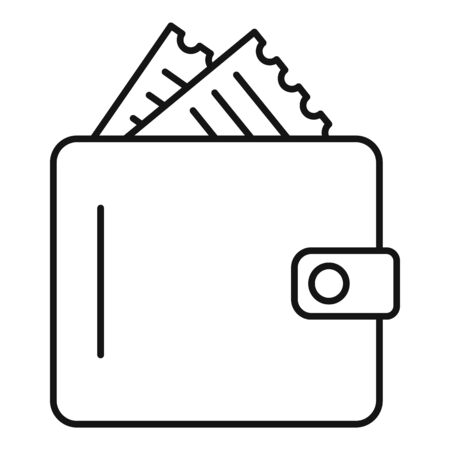 Wallet with receipt icon, outline style