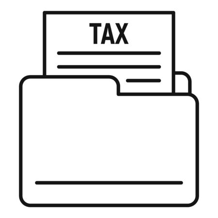 Tax form folder icon, outline style Ilustrace