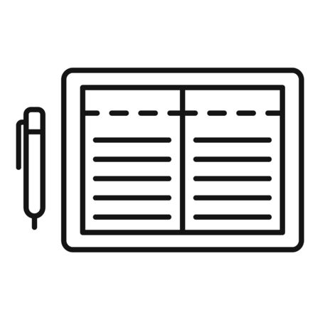 Open finance tablet icon, outline style