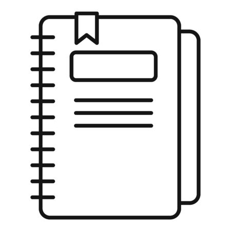 Paper notebook icon, outline style