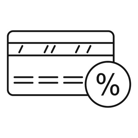 Credit card icon, outline style Çizim