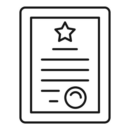 Online tablet diploma icon, outline style